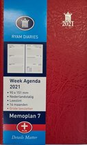 RYAM - ZAKAGENDA - MEMOPLAN 7 PLUS - GROOT LETTER - 2021 - BORDEAUX - 90X151MM