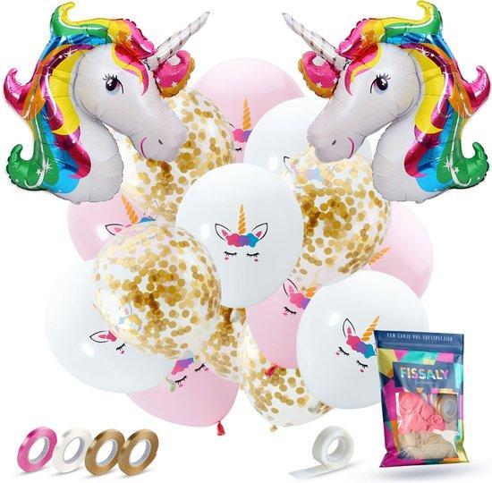 Fissaly® 37 stuks Eenhoorn Decoratie Helium Ballonnen met Lint – Verjaardag - Papieren Confetti – Latex