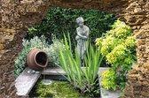 tuinposter - 90x65 cm - doorkijk - gat in rots - vijver - tuindecoratie - tuindoek - tuin decoratie - tuinposters buiten - tuinschilderij