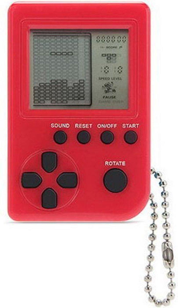 Mini Klassieke Tetris Spel Retro Spelcomputer Sleutelhanger LCD Spelletje - Rood