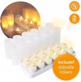 LED Kaarsen met bewegende vlam - LED Theelichtjes - Waxinelichtjes LED – Sfeerverlichting Binnen - Kerstverlichting Binnen - LED kaarsen oplaadbaar - 12 Stuks