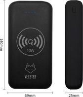 Velster® Powerbank – 20.000 mAh – Draadloos Opladen – Snellader 18W – Powerbank Apple iPhone – Powerbank Samsung – Met USB-C Kabel - Met Lightning Kabel - Zwart