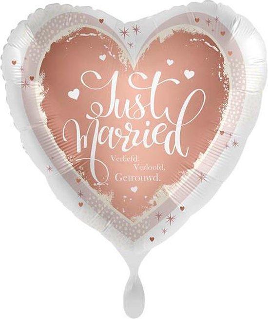 Everloon - Folieballon hart - Just Married, Verliefd, Verloofd, Getrouwd - 43cm - Voor huwelijk