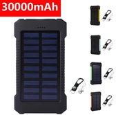 Solar Powerbank - 30000mAh - Op Zonne-energie - Waterdicht - Zwart - Assortiment 'Het Gemak'