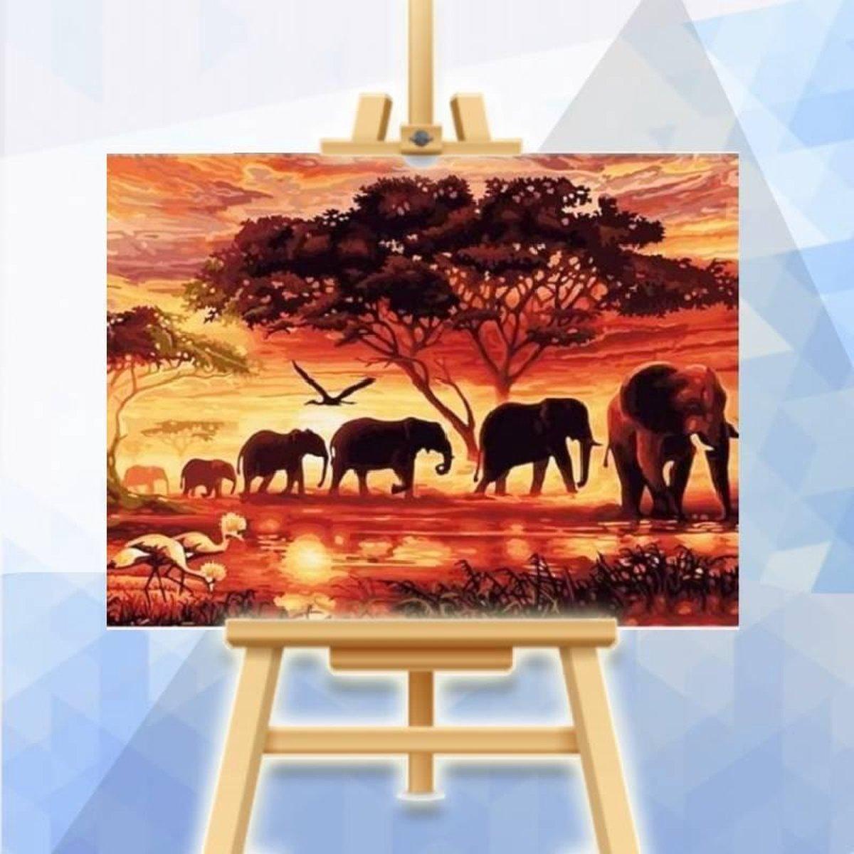 Schilderen op nummer pakket Olifanten bij zonsopkomst - 40 x 50 cm