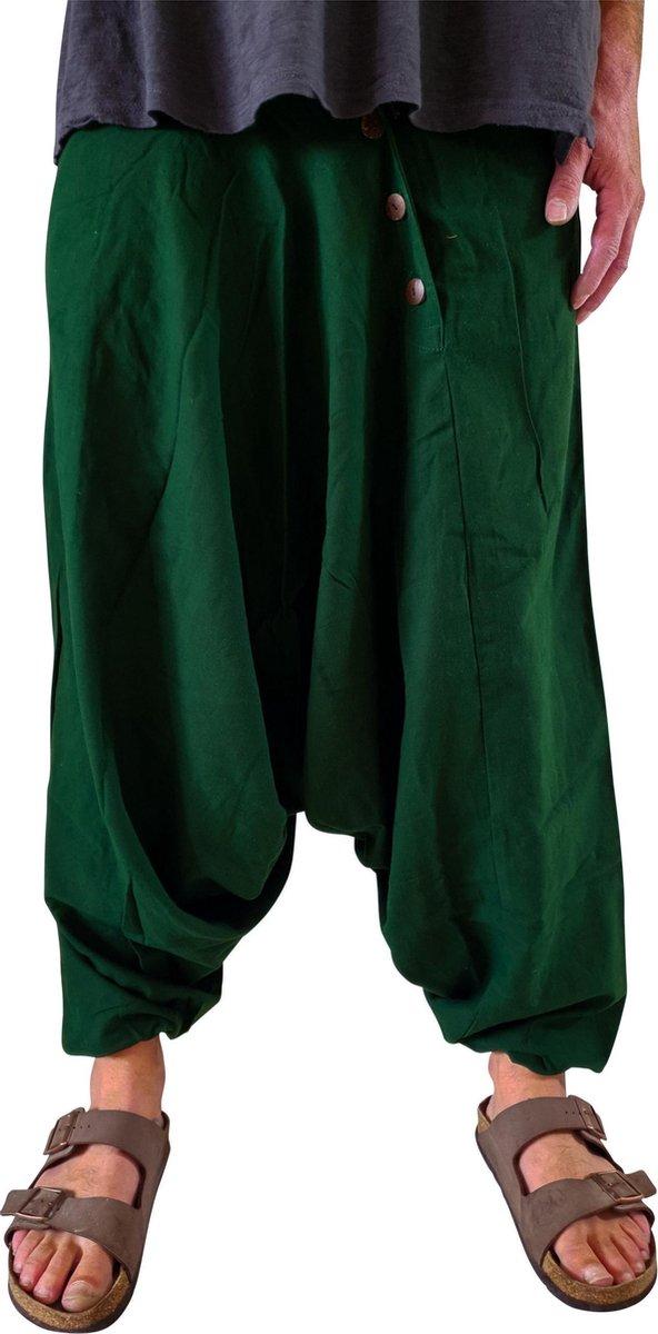 Harembroek heren groen wijd model