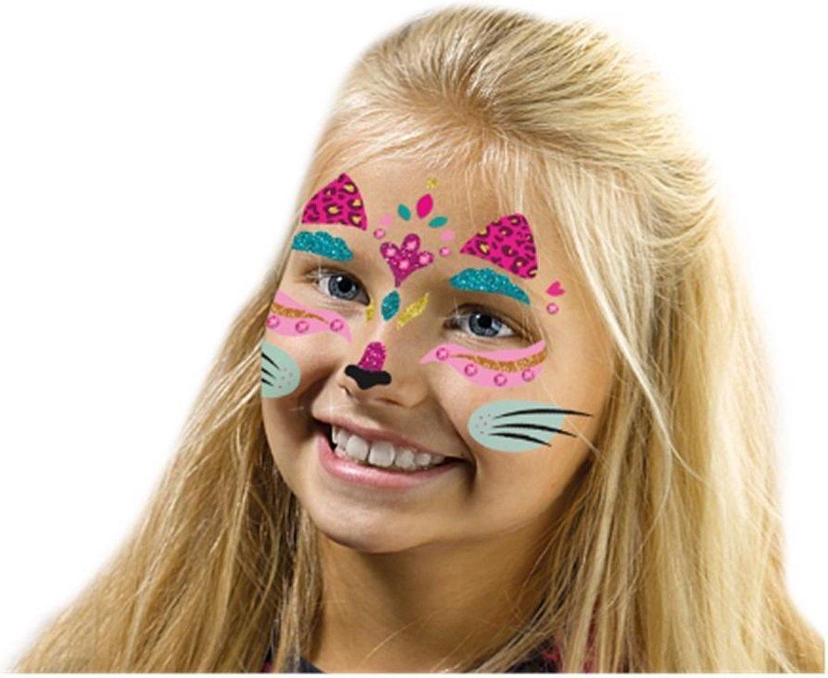 Fashion glitter gezicht tattoos - Kat