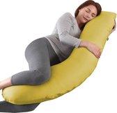 Litollo® Zwangerschapskussen (J-shape) - Zijslaapkussen - Voedingskussen - Lichaamskussen - Body pillow - 145cm - Afneembare hoes - Okergeel