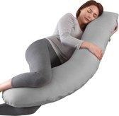 Litollo® Zwangerschapskussen (J-shape) - Zijslaapkussen - Voedingskussen - Lichaamskussen - Body pillow - 145cm - Afneembare hoes - Grijs