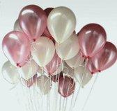 Luxe Ballonnen Roze Wit -  25 Stuks - Helium Ballonnenset Feest Verjaardag Babyshower Party Wedding Bruiloft Valentijn