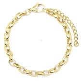 Dielay - Armband Dames - Schakels - RVS - Lengte Verstelbaar 17-22 cm - Goudkleurig