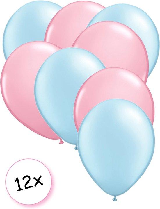 Premium Quality Ballonnen Baby Blauw & Baby Roze 12 stuks 30 cm