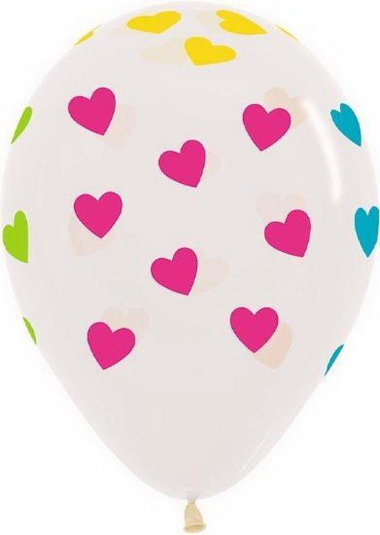 Ballonnen Neon Hartjes Transparant 30 cm 25 stuks