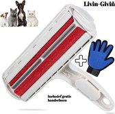 Pluizen en Haren Verwijderaar met vacht handschoen - Kleding Borstel & Roller – pluizenborstel  – pluizenverwijderaar – Huisdier