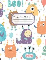 Composition Notebook: Wide Ruled Lined Paper: Large Size 8.5x11 Inches, 110 pages. Notebook Journal: Cute Monsters Boo Workbook for Children