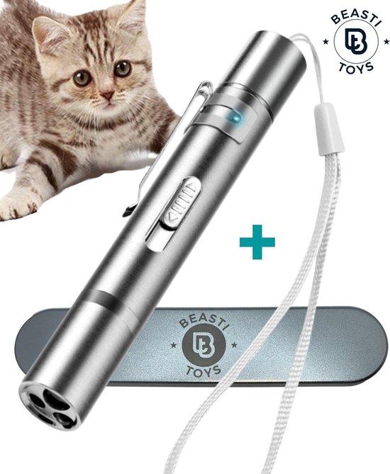 Complete set laserpen voor kat - USB oplaadbaar met opbergblikje - Kattenspeelgoed - 7 verschillende functies - laserlampje kat - laser pointer rood - Nieuw model 2021