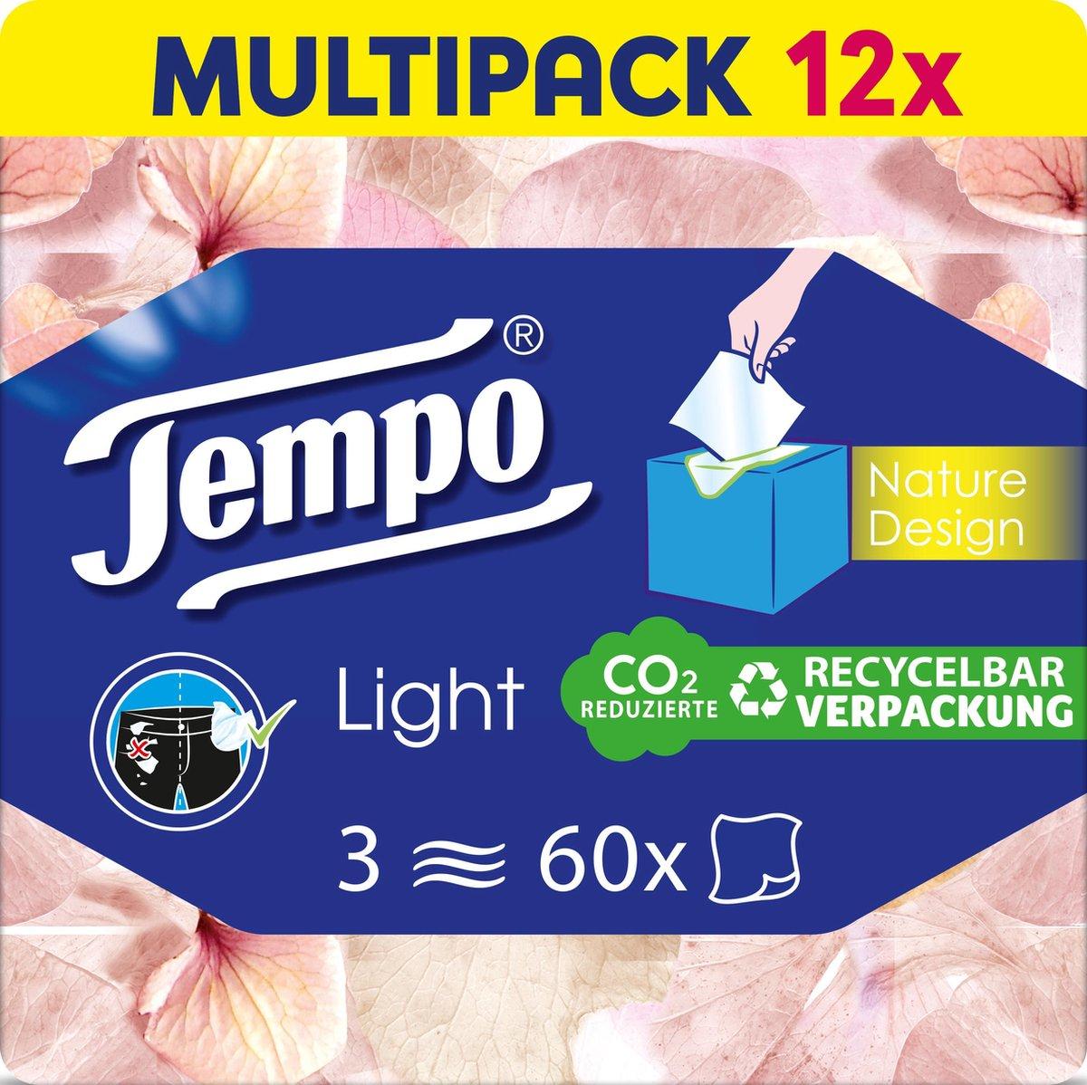 Tempo Light Tissues Box - 3-laags tissues - 12 x 60 stuks - seizoen voorraad