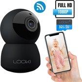 Looki® Beveiligingscamera - 1080P HD PTZ Wi-Fi - met 32GB SD kaart & Cloud Opslag - Zwart