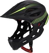 Pro-Care Mountainbike helm, Met LED achterlicht, Verstelbare kinderhelm en extra afhaalbare gezichtsbescherming , 52-56 cm, Yellowstripe-Hammer , 3 tot 12 jaar