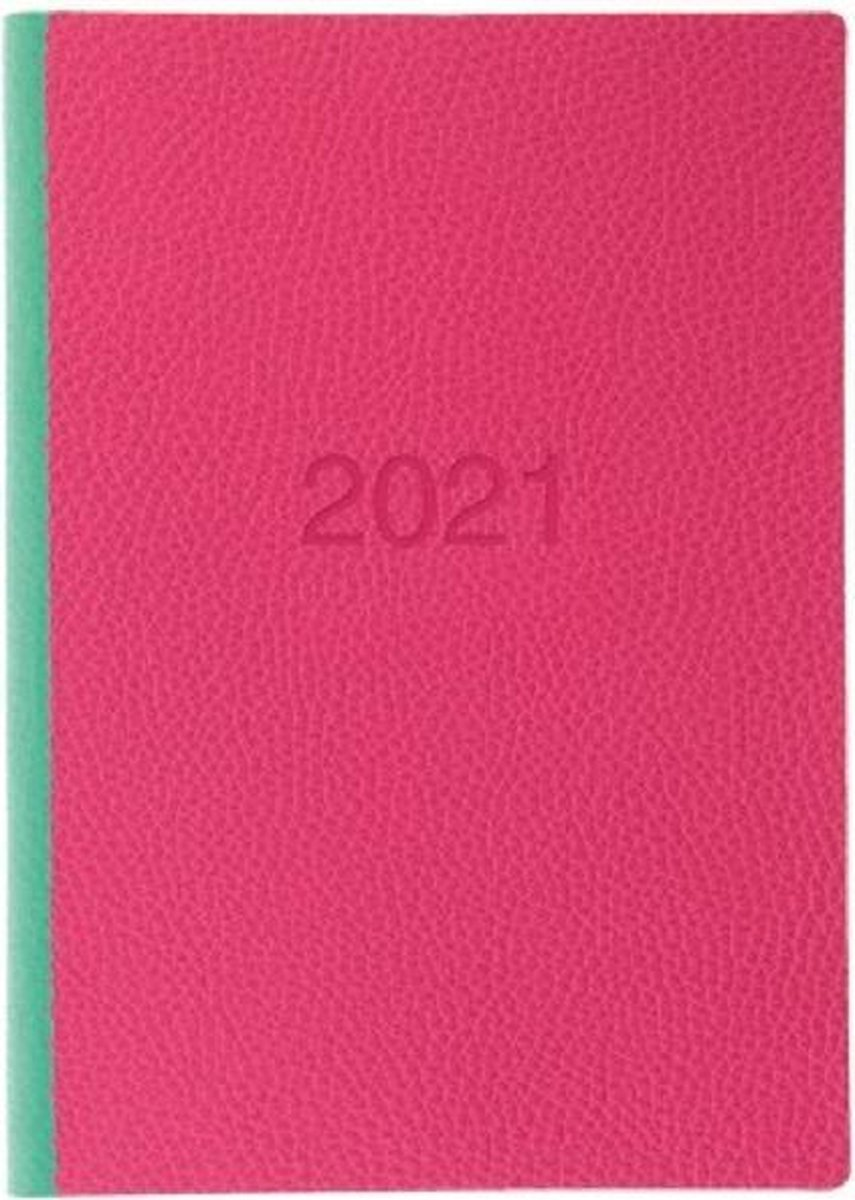 Letts of London Two Tone A5 2021 week to view agenda Pink / Green