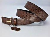 Leren riem krokodil,bruin, goudkl buckle, L110cm, H38mm, D4mm