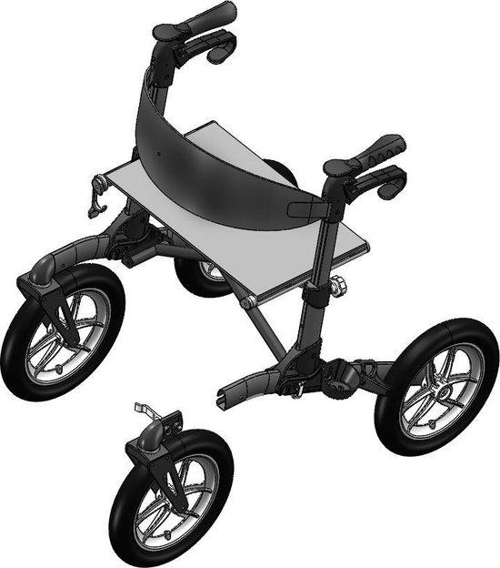 Mobinova Outdoor Flex rollator voor buiten, lichtgewicht, klein opvouwbaar, 4 luchtbanden. Ideaal om te gebruiken in bos, park, tuin, op strand en rijden over hobbelige straten.