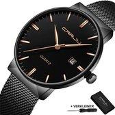 CRRJU® Horloges voor Mannen Vrouwen Herenhorloge Dameshorloge Heren Dames – Horloge Watch Jongens Meisjes – Horlogebox Geschenkdoos – Zwart Rosé