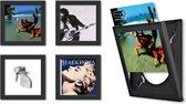 LP / Vinyl Wissellijst Frame - Fotolijst - 32x32 cm - Zwart - 4-pack - Kunststof