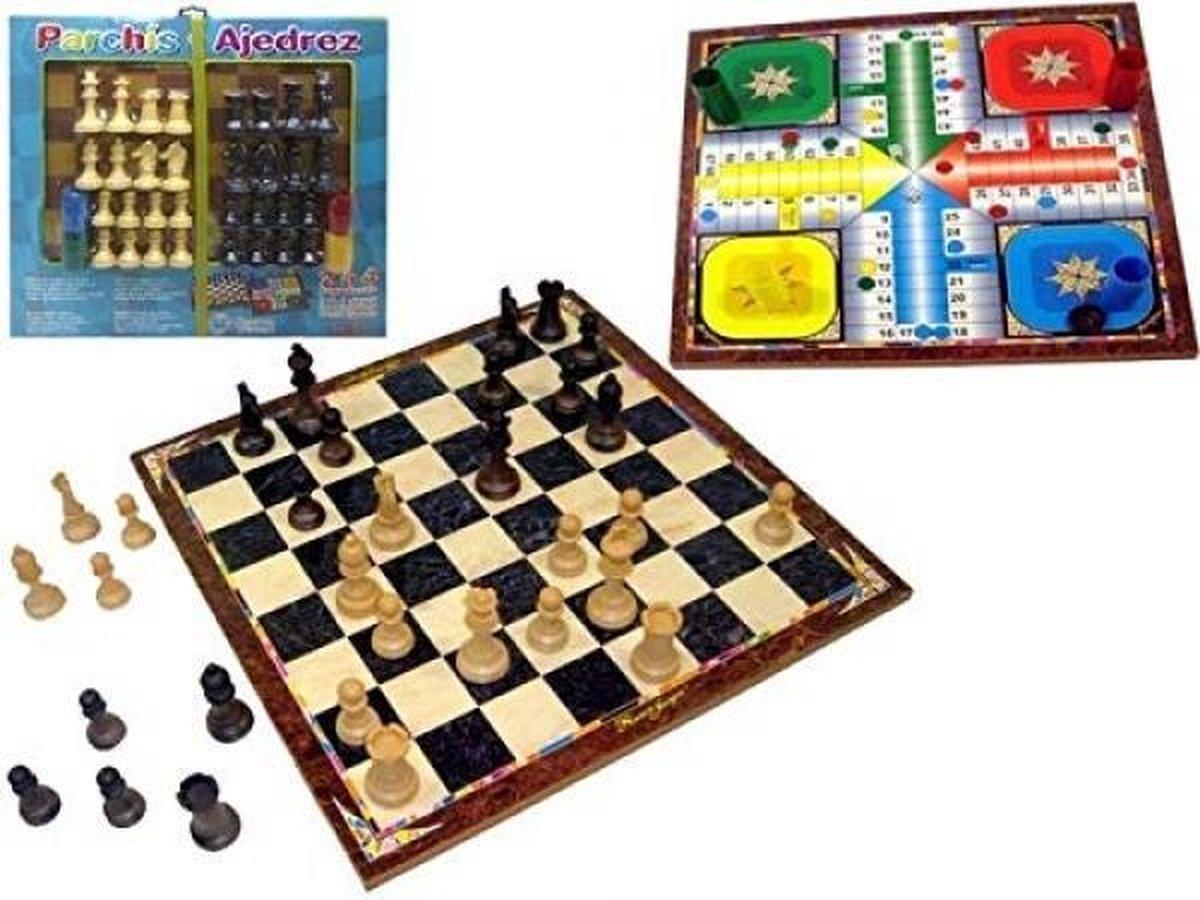 Parchis, schaken en dammen spelbord
