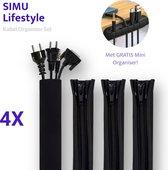 SIMU Lifestyle Kabel Organiser Set - 4 Stuks - Thuis & Kantoor - Bureau & TV - Cable Management - Kabelgoot - met GRATIS Mini Organiser