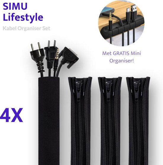 SIMU Lifestyle Kabel Organiser Set - 4 Stuks - Thuis & Kantoor - Bureau & TV...