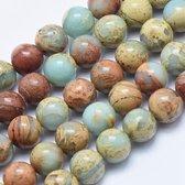 Natuurstenen kralen, Aqua Terra jaspis, ronde kralen van 8mm. Verkocht per streng van ca. 40cm (ca. 52 kralen)
