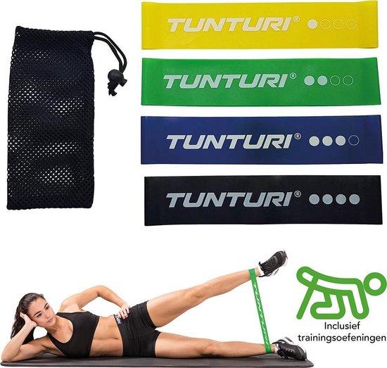 Tunturi 4 Weerstandsbanden Set - Fitness elastiek - Fitnessband - Trainingsband - Gymnastiekband