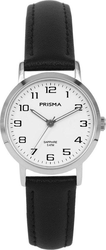 Prisma Stainless Steel   - Horloge P1746 - Leer - Zwart