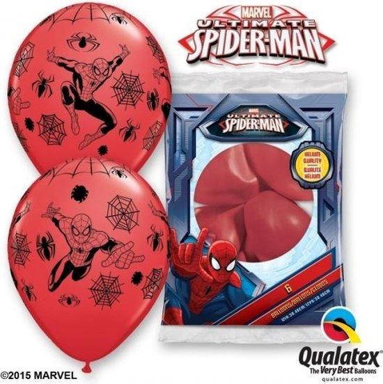 Spiderman party thema ballonnen 6x stuks - Feestartikelen/versieringen