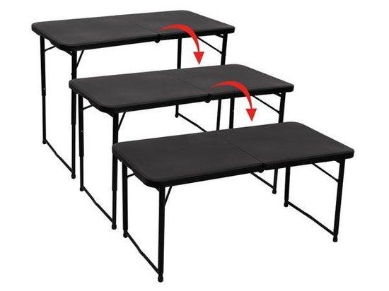 Vouwtafel camping/picknick tafel met regelbare hoogte - 101.5 x 50.7 x 71.2