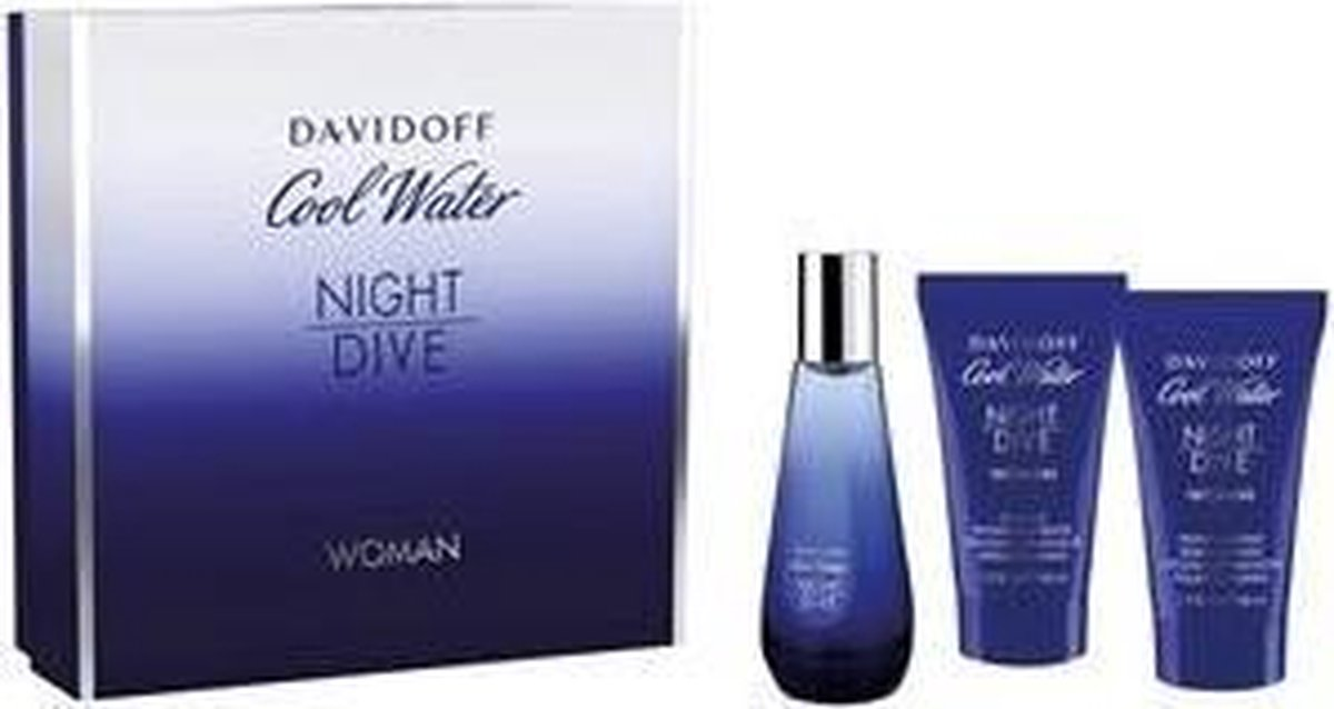 Davidoff Cool Water Night Dive Woman EDT 50 ml + 50 ml body lotion + 50 ml Shower Gel Cadeauset - Davidoff