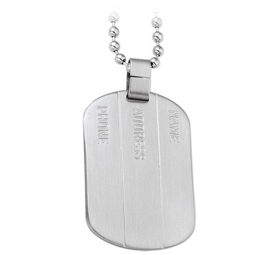 The Jewelry Collection For Men Ketting Dogtag Mat 50 cm - Staal