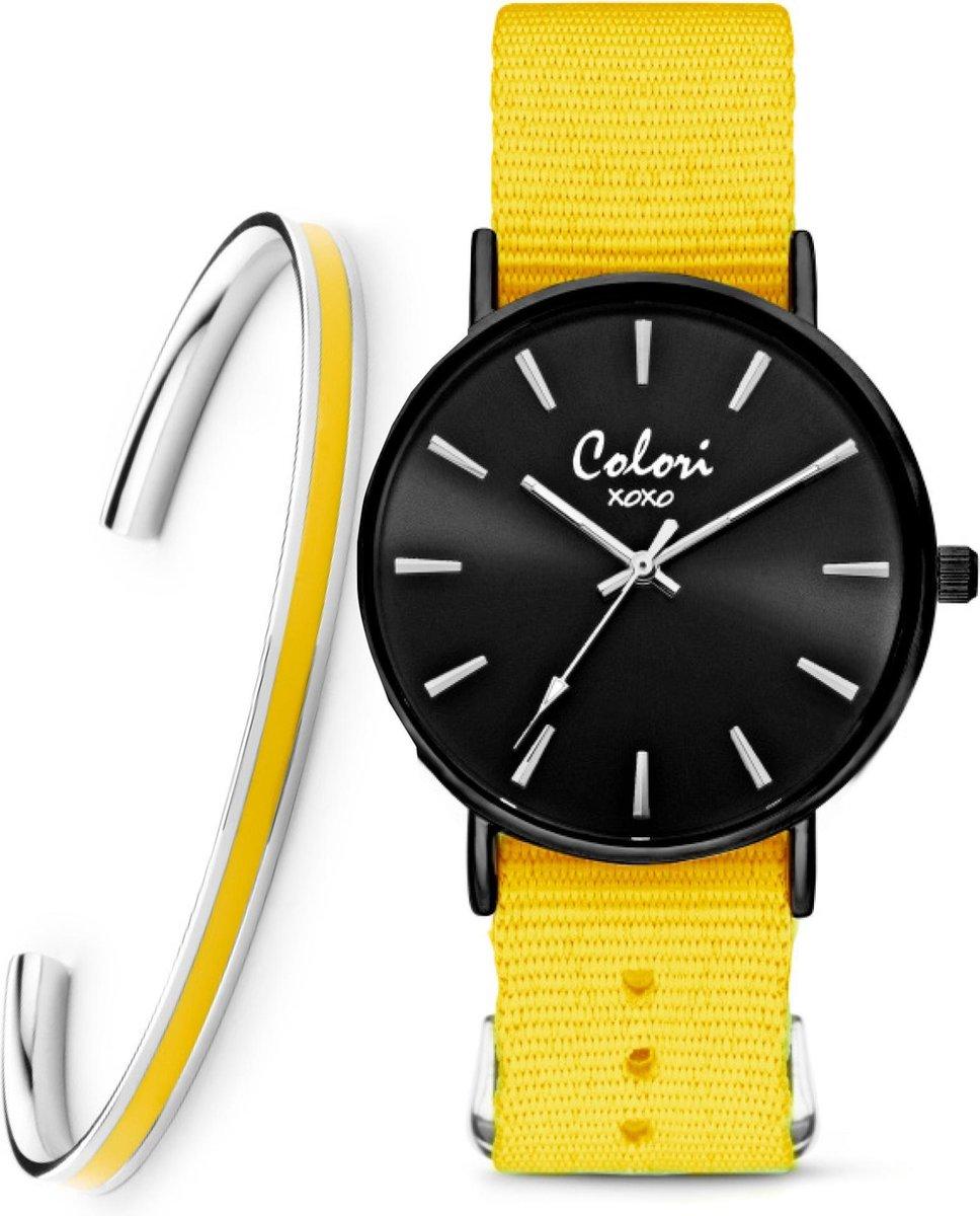 Colori XOXO 5 COL552 Horloge Geschenkset met Armband - Nato Band - Geel - Ø 36 mm