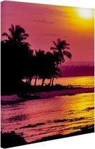 Siargao zonsondergang  Canvas 60x80 cm - Foto print op Canvas schilderij (Wanddecoratie woonkamer / slaapkamer) / Zee en Strand