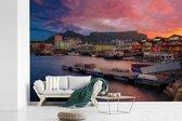 Fotobehang vinyl - Kleurrijke lucht boven Kaapstad breedte 390 cm x hoogte 260 cm - Foto print op behang (in 7 formaten beschikbaar)