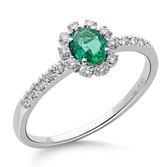 Orphelia RD-3928/EM/56 - Ring - Goud 18 kt - Diamant 0.14 ct / Smaragd 0.31 ct - 17.75 mm / maat 56