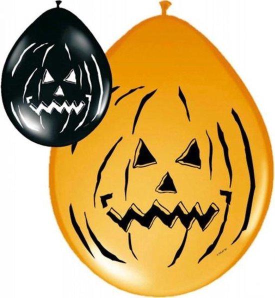Horror ballonnen zwart en oranje 16x stuks