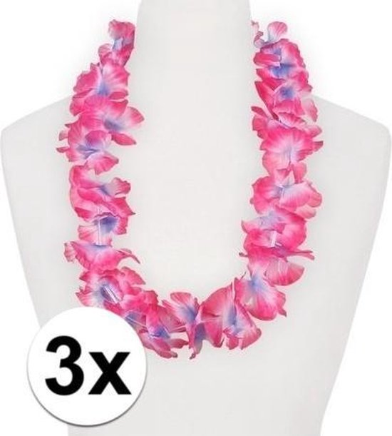 3x Hawaii slinger roze/paars