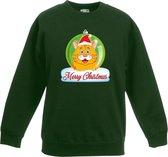 Kersttrui Merry Christmas oranje kat / poes kerstbal groen jongens en meisjes - Kerstruien kind 12-13 jaar (152/164)