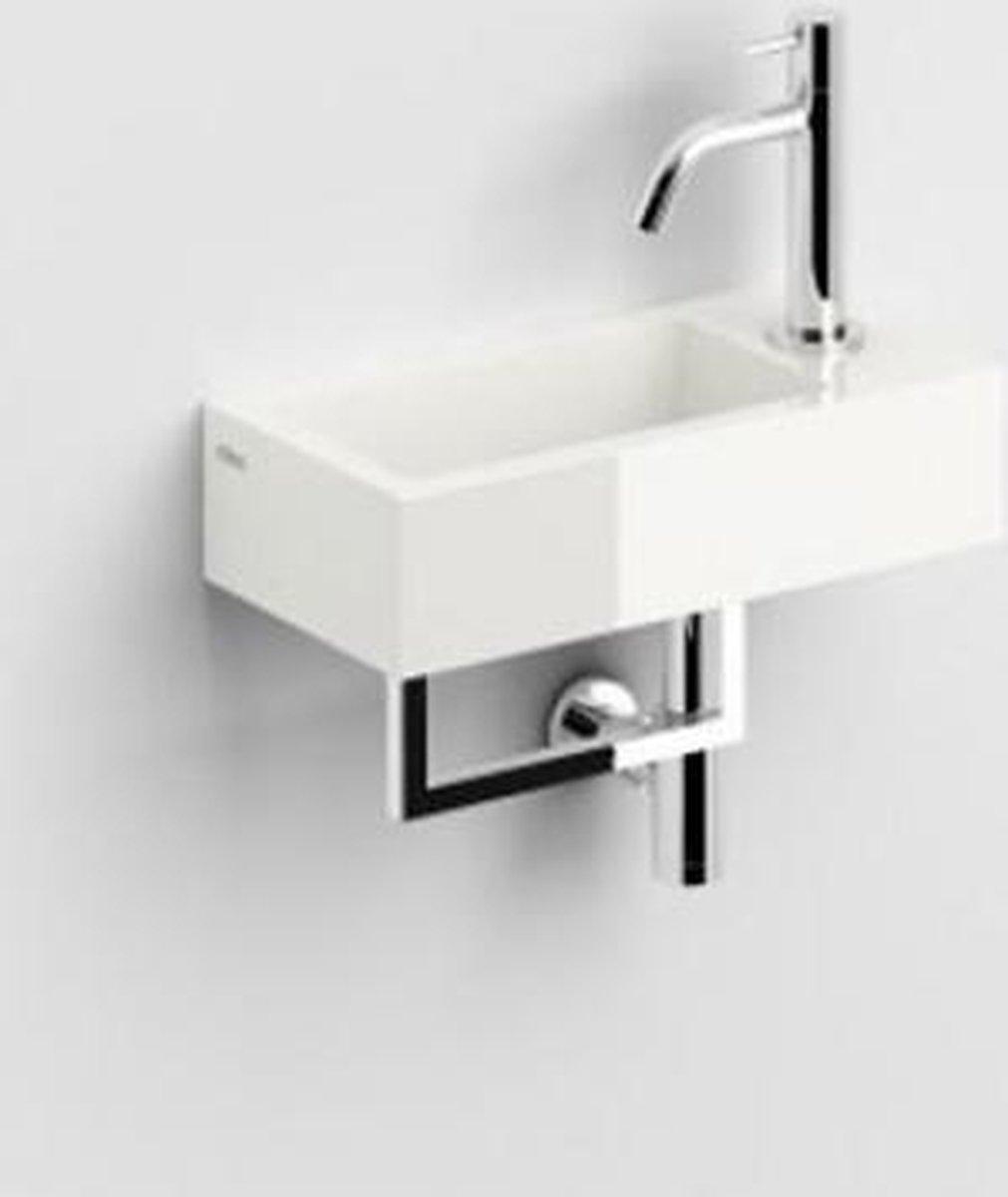 Fontein Clou Flush 3 Rechthoek Rechts 36x18x9cm Mineraalmarmer Hoogglans Wit 1 Voorbewerkte Kraangat met Handdoekhouder