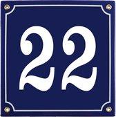 Emaille huisnummer blauw nr. 22