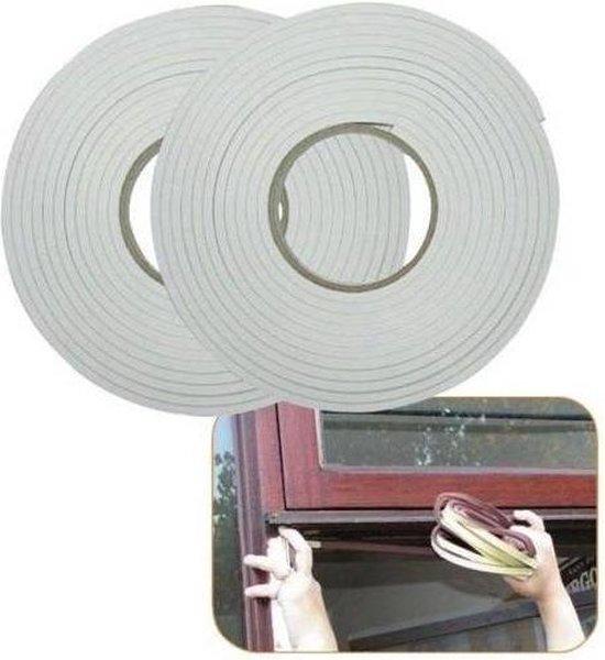 Tochtstrip - Tochtband - Zelfklevend - 9mm x 5.5 mtr wit