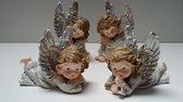 Set van 4 kerst engelen 5,5 tot 7,5 cm