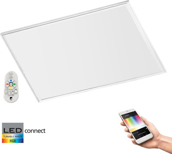 EGLO Connect Salobrena - LED paneel - Wit en gekleurd licht - 595x595mm - Wit